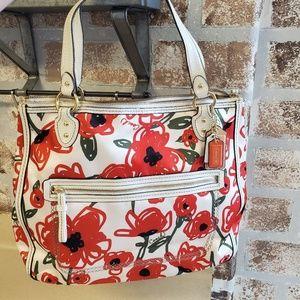 COACH red flowers purse handbag